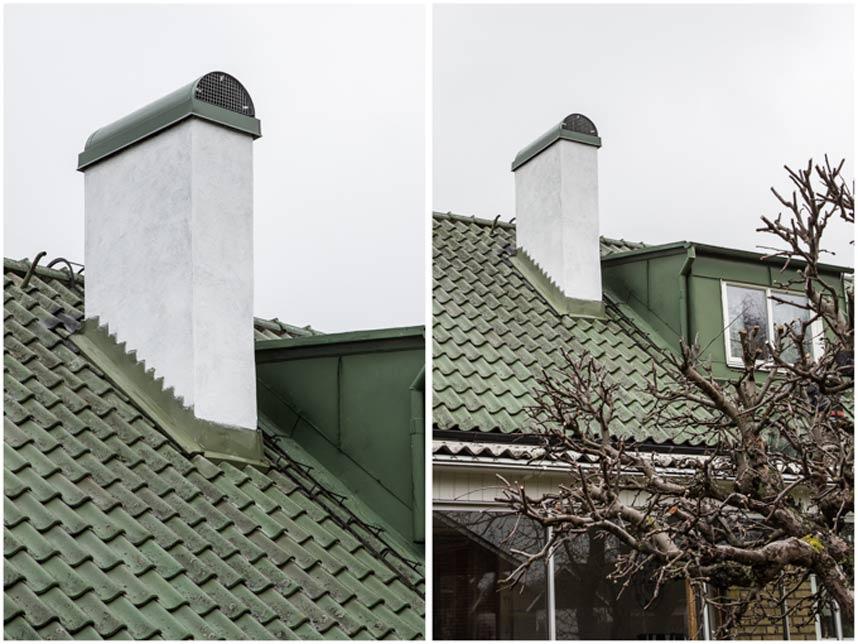 Grönt skorstensskydd och vitmålad puts